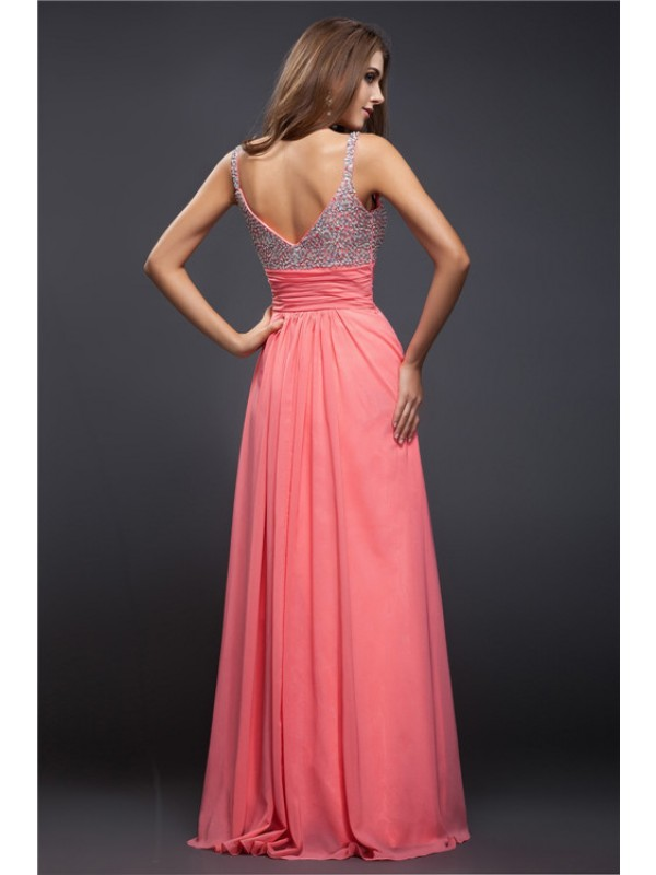 Sheath/Column Spaghetti Straps Long Chiffon Dress
