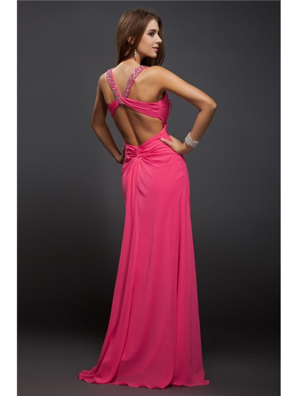 Sheath/Column Straps Long Chiffon Dress