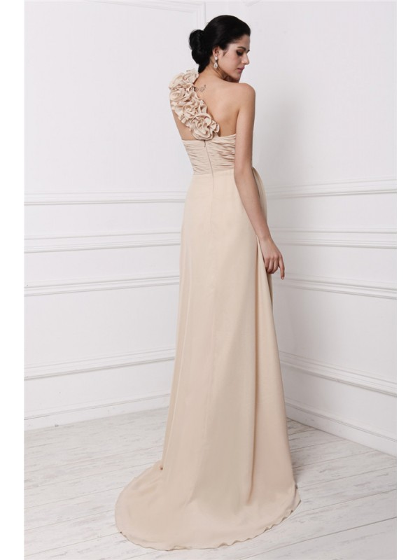 Sheath/Column One-Shoulder Long Chiffon Dress
