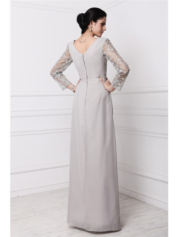 Sheath/Column V-neck Long Sleeves Lace Long Chiffon Dress