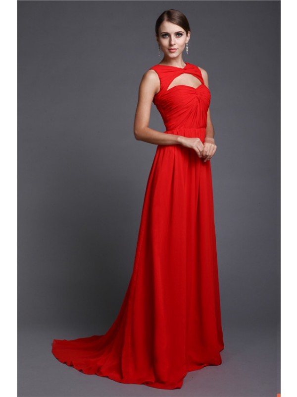 A-Line/Princess Long Chiffon Dress