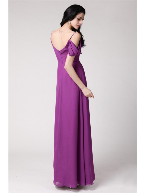 Sheath/Column Spaghetti Straps Long Chiffon Bridesmaid Dress