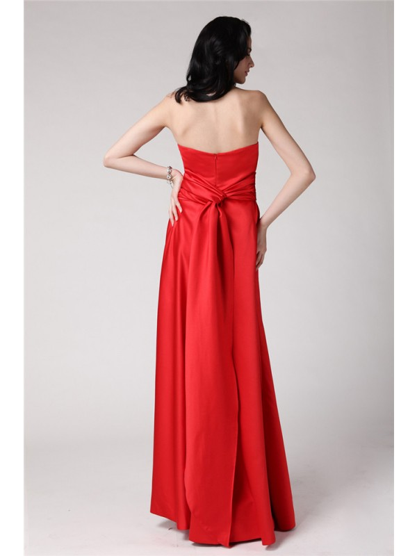 A-Line/Princess Strapless Long Elastic Woven Satin Bridesmaid Dress