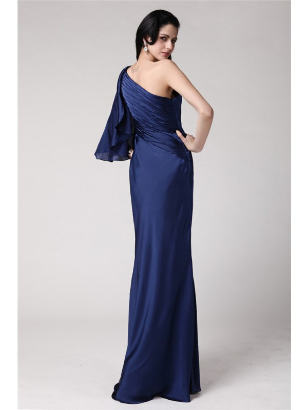 Mermaid One-Shoulder Long Feather Chiffon Damask Dress