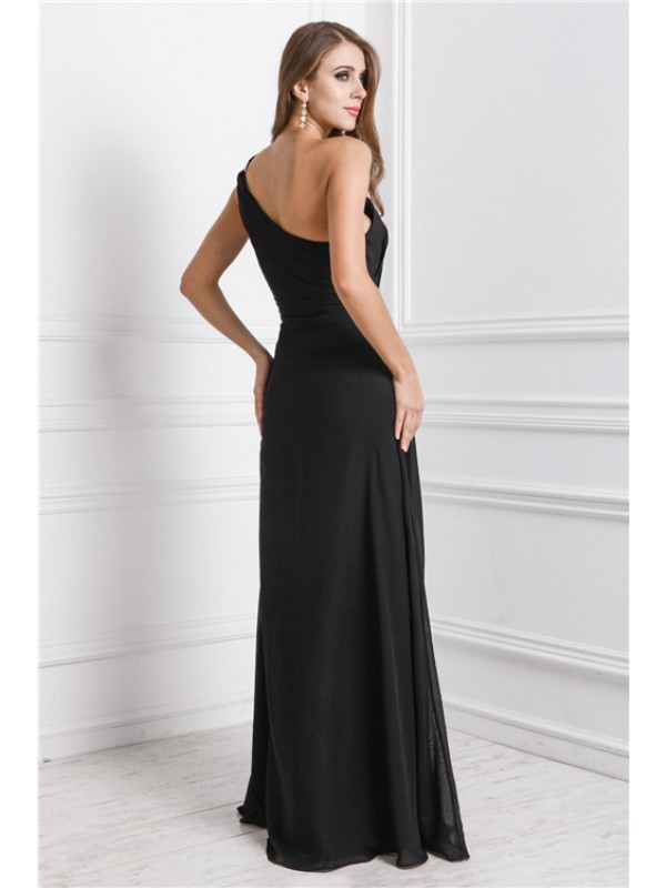 Sheath/Column One Shoulder Long Dress