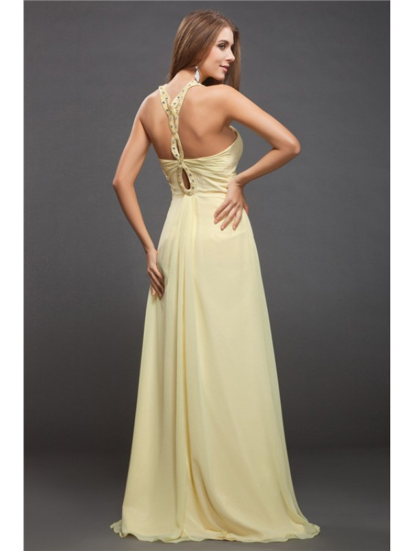 Sheath/Column Halter Long Chiffon Dress