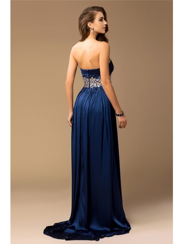 Sheath/Column Strapless Long Silk like Satin Dress