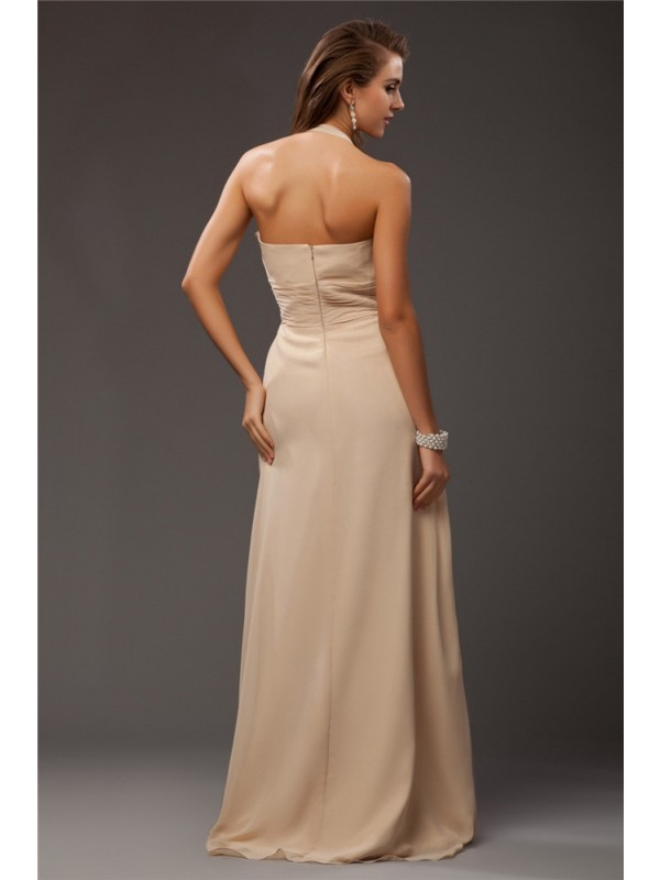 Sheath/Column Halter Long Chiffon Bridesmaid Dress