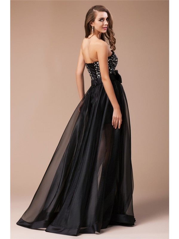Sheath/Column Sweetheart Long Organza Elastic Woven Satin Dress
