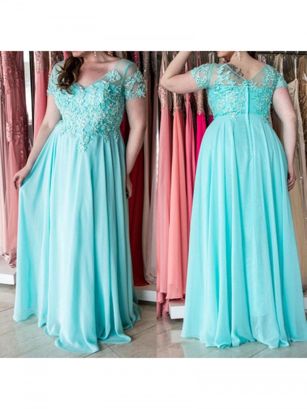 A-Line/Princess Sweetheart Short Sleeves Long Chiffon Plus Size Dress