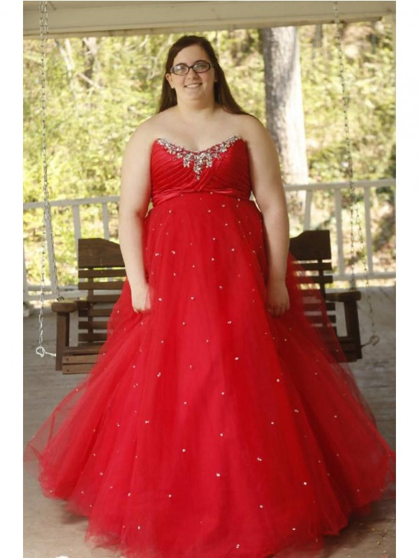 Ball Gown Sweetheart Long Organza Plus Size Dress