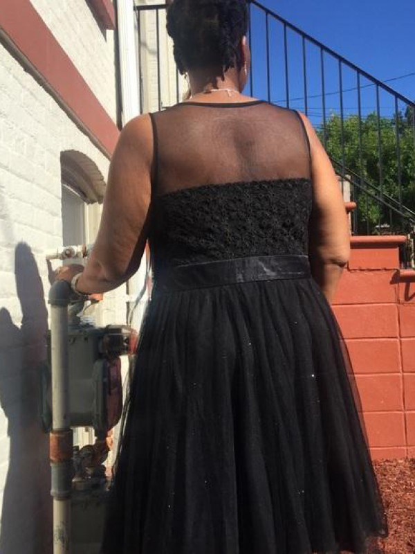 A-Line/Princess Sheer Neck Short Tulle Plus Size Dress