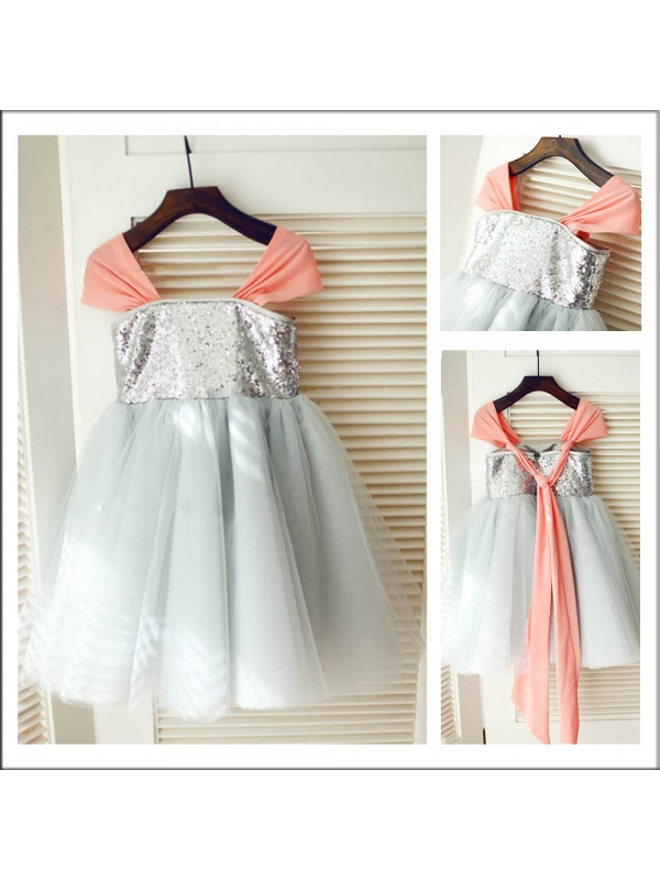 A-Line/Princess Straps Tea-length Tulle Flower Girl Dress