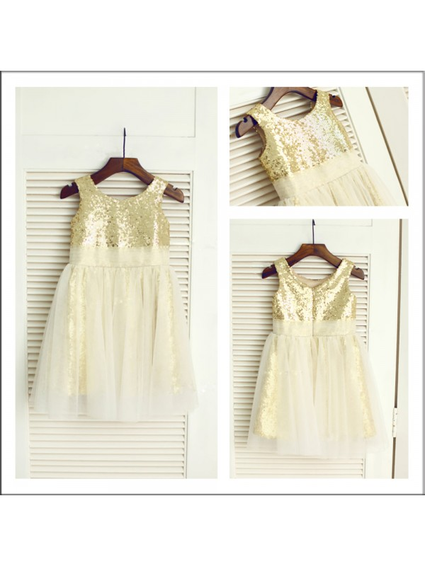 A-Line/Princess Scoop Tea-length Sequins Flower Girl Dress