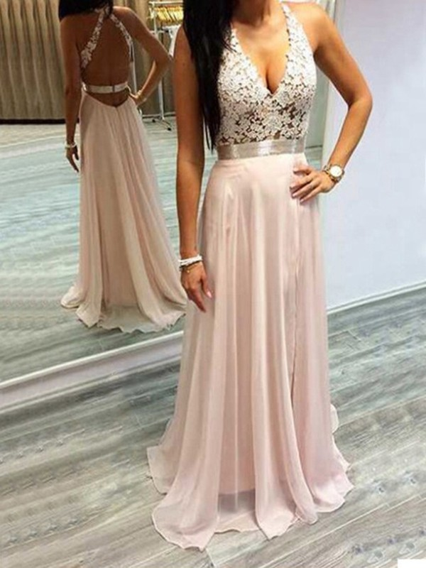 A-Line/Princess Halter Chiffon Lace Long Dress
