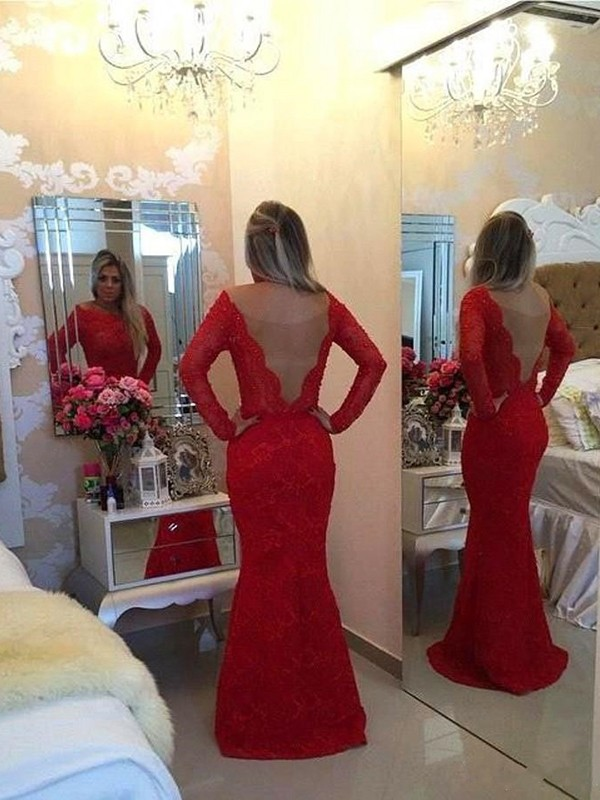 Mermaid Long Sleeves Scoop Lace Long Dress