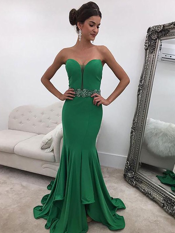 Mermaid Sweetheart Long Satin Dress