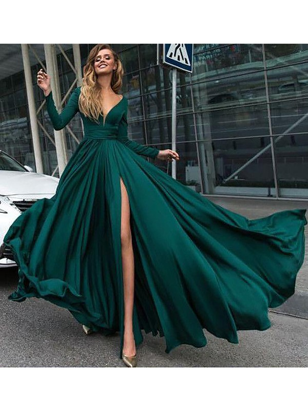 A-Line/Princess V-Neck Long Sleeves Long Satin Chiffon Dress