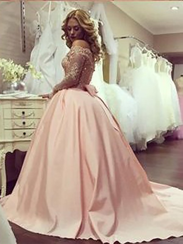 Ball Gown Long Sleeves Off-the-Shoulder Satin Long Dress