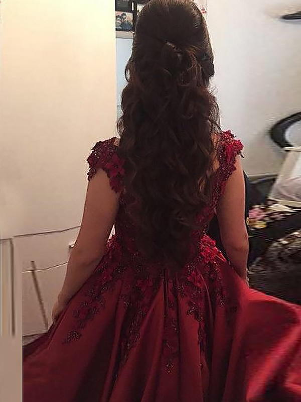 Ball Gown Off-the-Shoulder Satin Long Dress