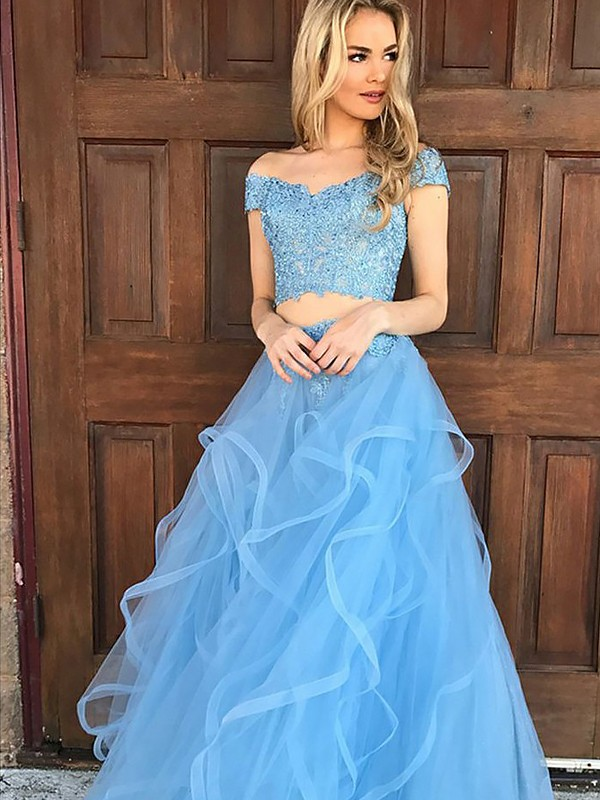 A-Line/Princess Off-the-Shoulder Tulle Long Two Piece Dress