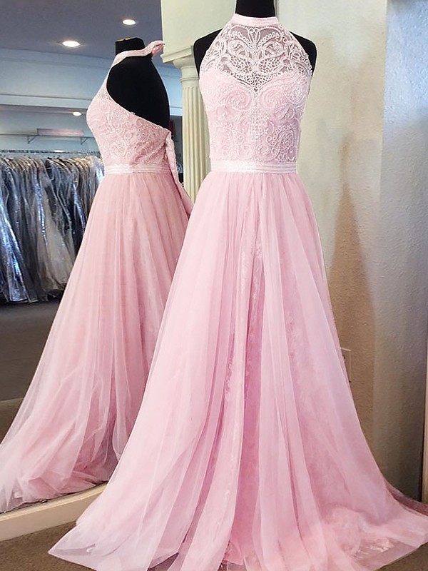 A-Line/Princess Halter Tulle Long Dress
