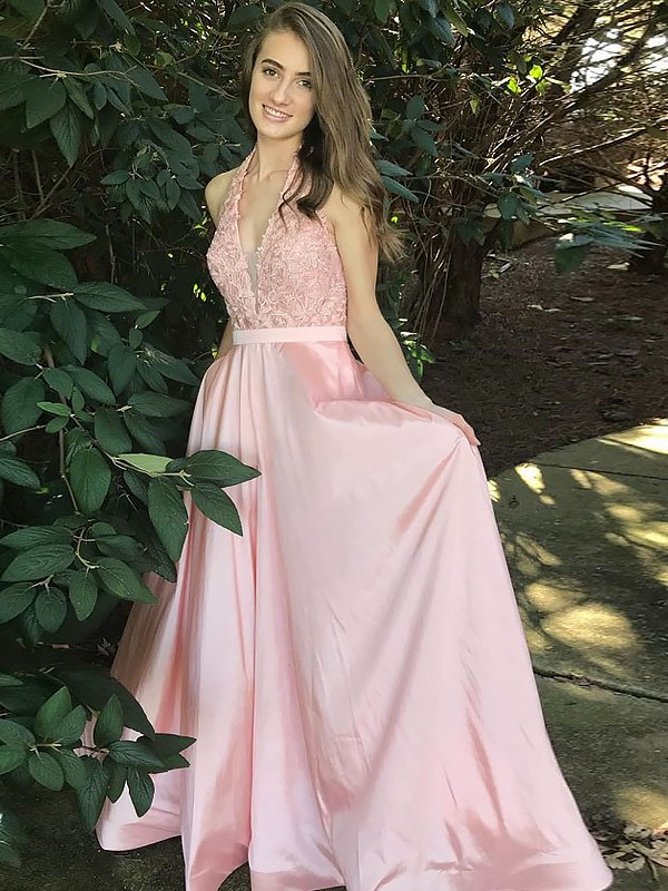 A-Line/Princess V-Neck Long Satin Dress