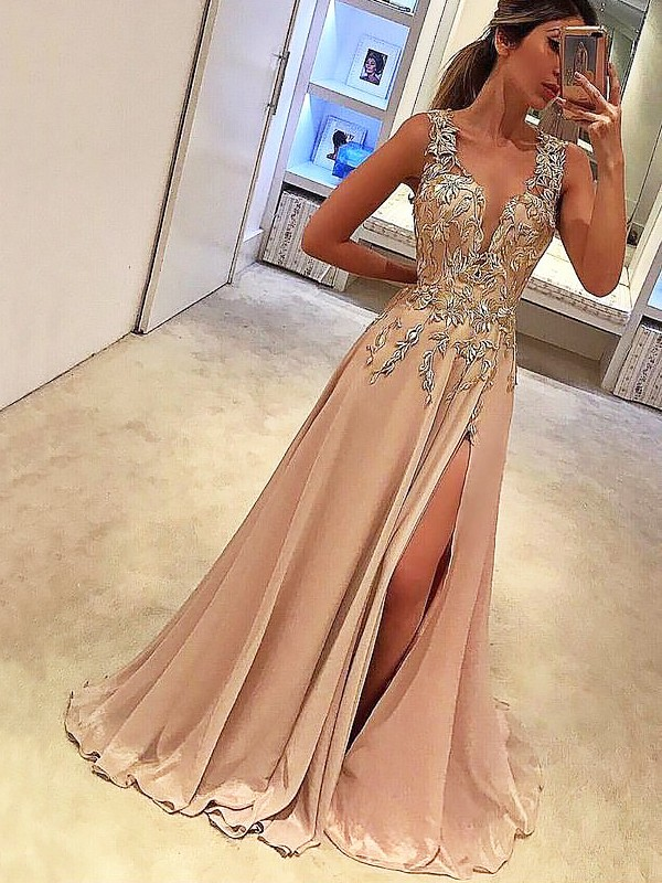 A-Line/Princess V-neck Long Silk like Satin Dress