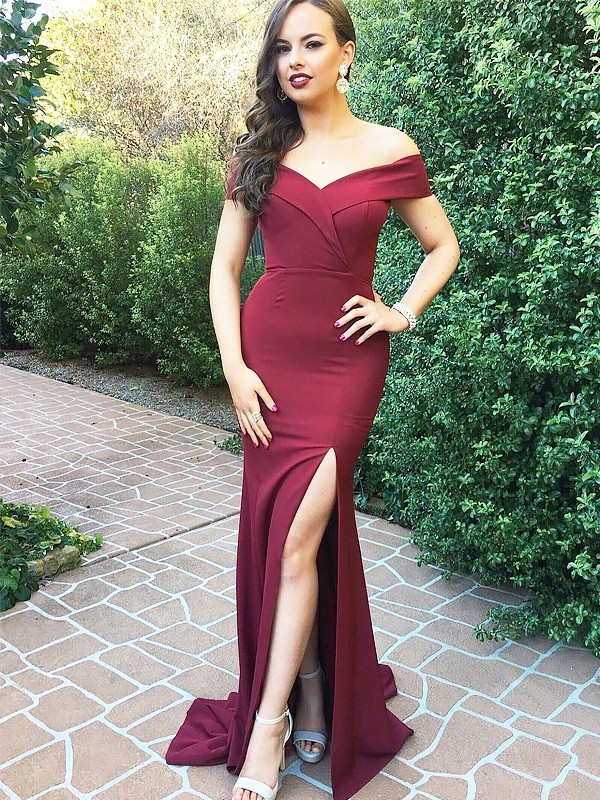 A-Line/Princess Off-the-Shoulder Long Satin Dress