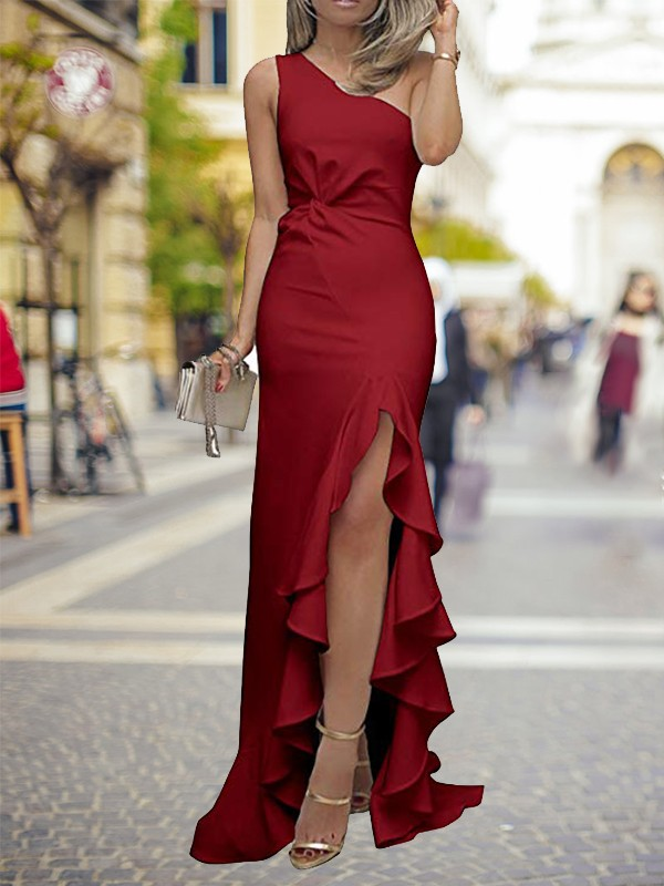 Sheath/Column One-Shoulder Long Silk like Satin Dress