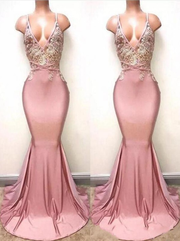 Mermaid V-neck Long Satin Dress
