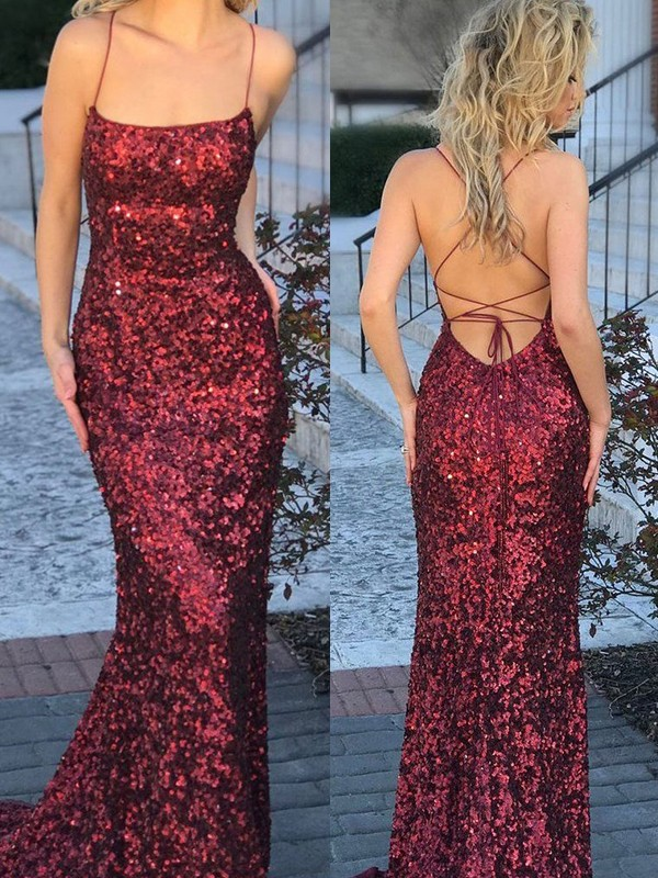 Mermaid Spaghetti Straps Long Sequins Dress