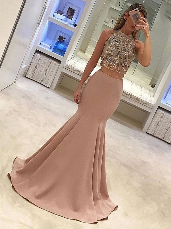 Mermaid High Neck Long Satin Two Piece Dress