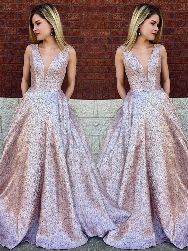 A-Line/Princess V-neck Long Sequins Lace Dress
