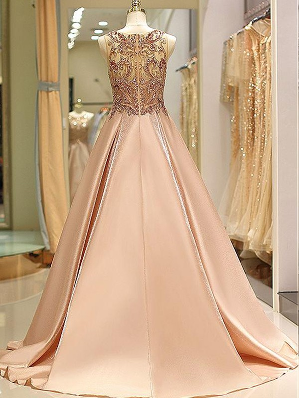 Ball Gown Bateau Long Satin Dress