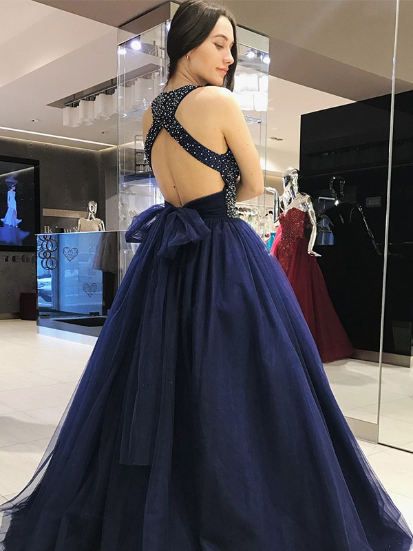 Ball Gown Halter Long Tulle Dress