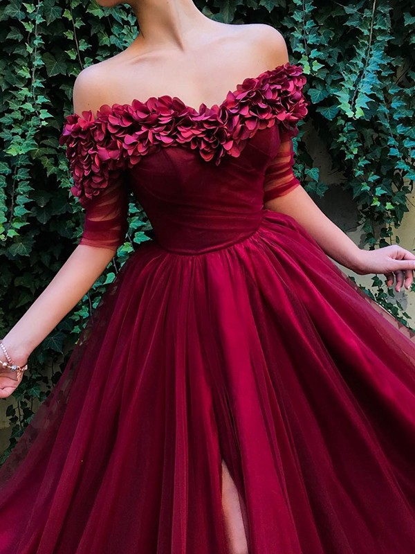 A-Line/Princess 1/2 Sleeves Off-the-Shoulder Long Tulle Dress