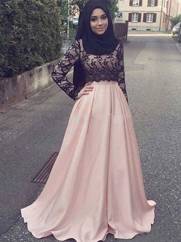 A-Line/Princess Long Sleeves Scoop Long Satin Muslim Dress
