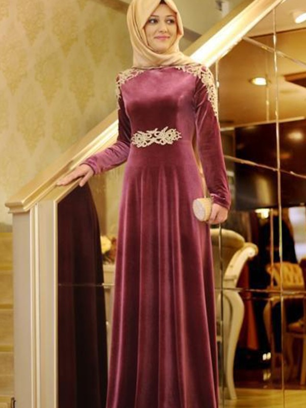 A-Line/Princess Long Sleeves Scoop Long Muslim Dress