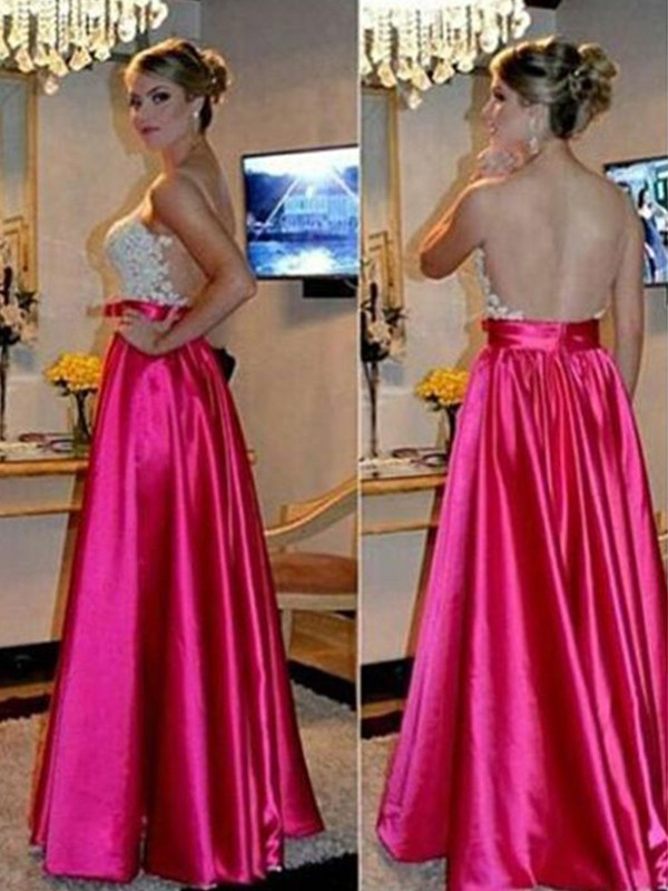 A-Line/Princess Sweetheart Long Satin Dress