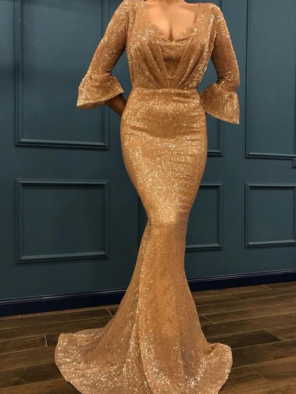 Mermaid 3/4 Sleeves V-neck Long Sequins Dress