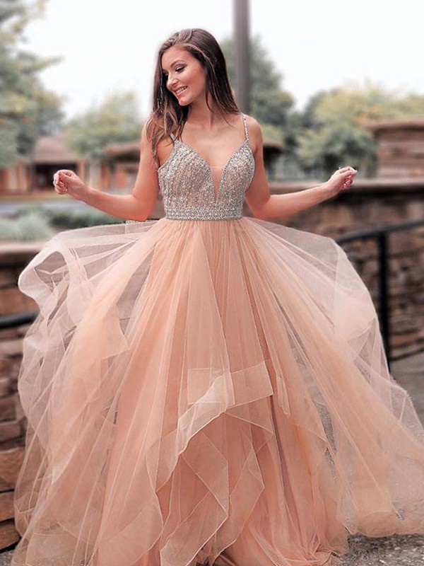 A-Line/Princess Straps Long Tulle Dress