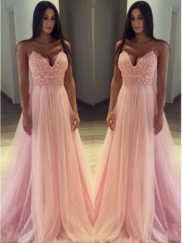 A-Line/Princess Spaghetti Straps Long Tulle Dress