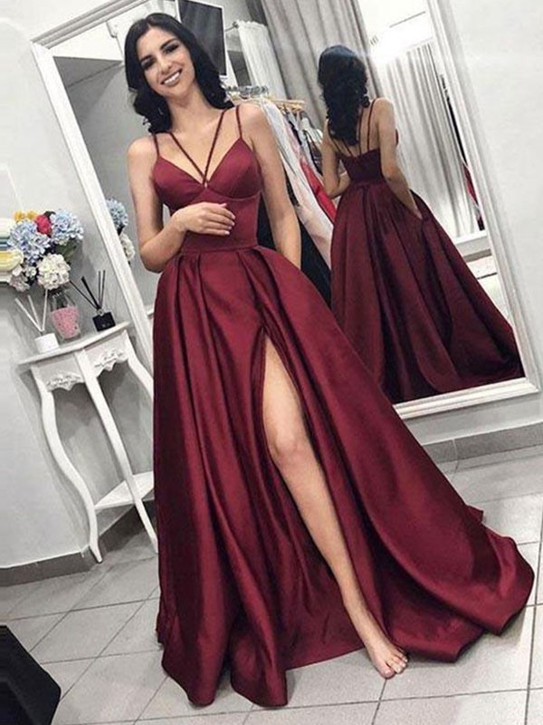 A-Line/Princess Spaghetti Straps Long Satin Dress