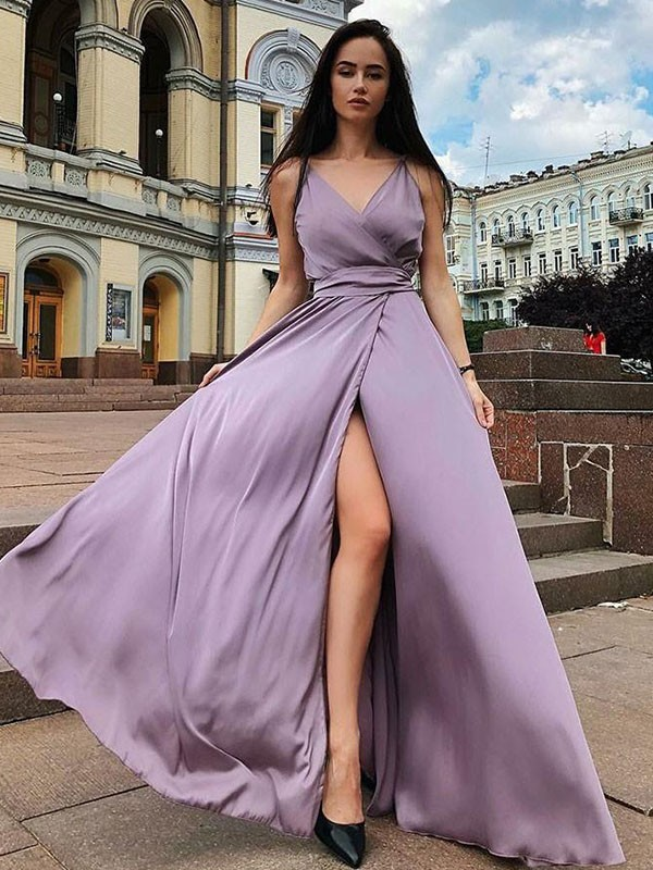 A-Line/Princess Straps Long Satin Chiffon Dress