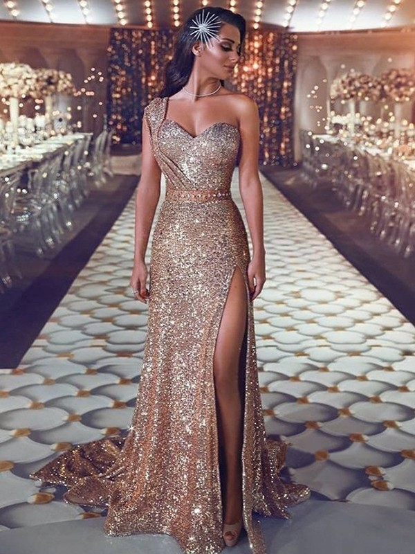 Sheath/Column One-Shoulder Long Sequins Dress