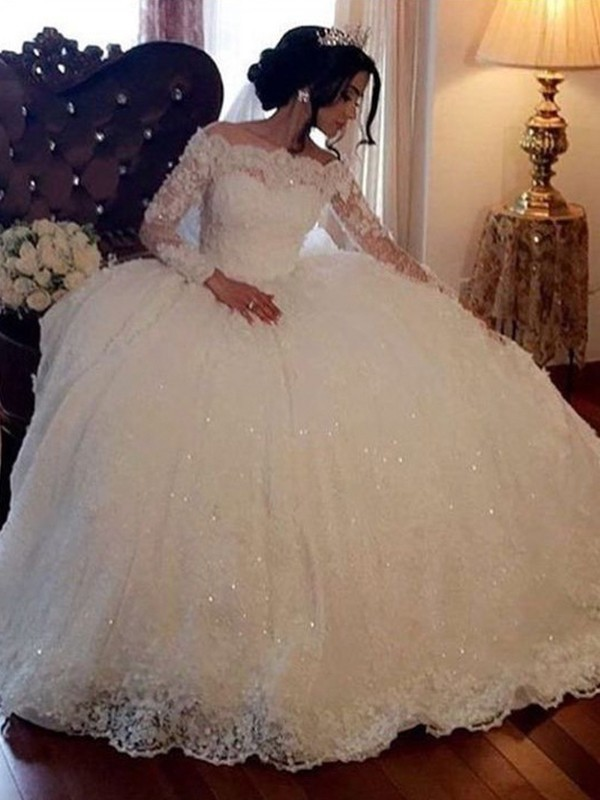 Ball Gown Bateau Long Sleeves Long Tulle Wedding Dress