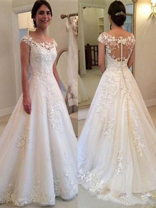 A-Line/Princess Scoop Long Tulle Wedding Dress