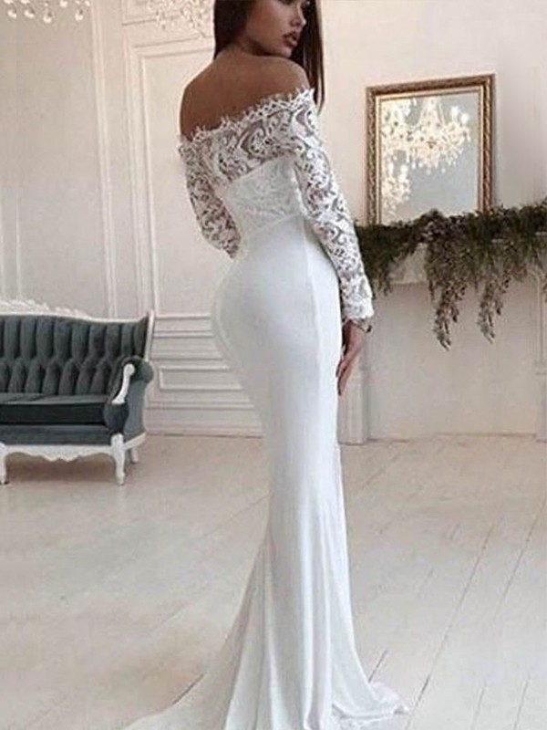 Mermaid Off-the-Shoulder Long Sleeves Long Chiffon Wedding Dress