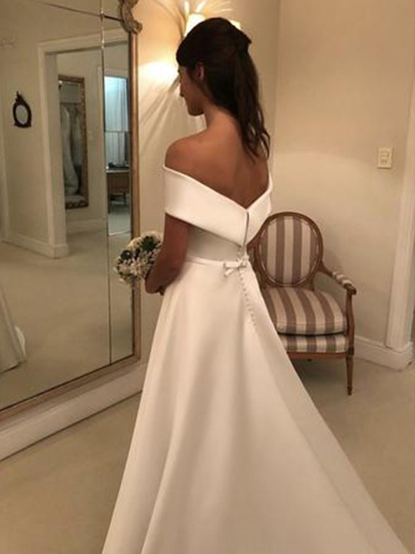 A-Line/Princess Off-the-Shoulder Long Satin Wedding Dress